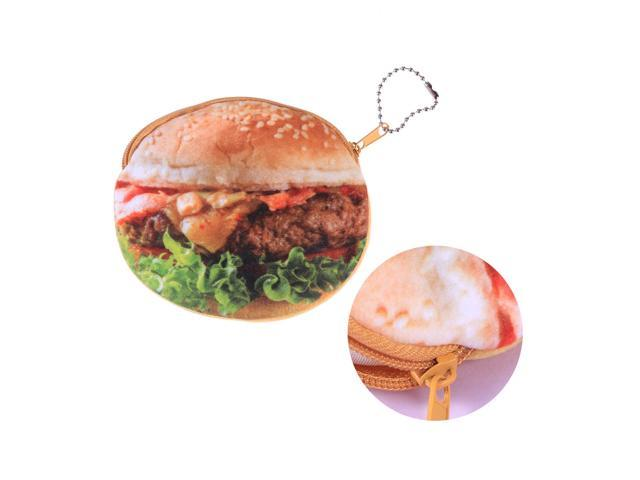 3D Cartoon Novelty Plush Fuzzy Pouch Fruit Zipper Coin Purse Mini Wallet with Keychain for Women Girls(Hamburger) (Electronics Computers Handheld Devices Pdas) photo