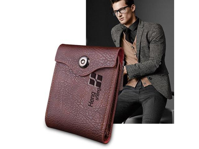 Luxury Man Magnetic Buckle PU Leather Wallet Male Purse Large Capacity Clutch Short Money Credit Card Holders Perfect Gift Coffee (730062023098 Electronics Communications Telephony) photo