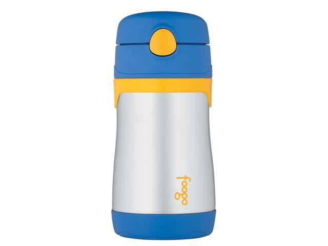 Thermos Foogo Vacuum Insulated Stainless Steel Straw Bottle (10 oz, Blue/Yellow) photo