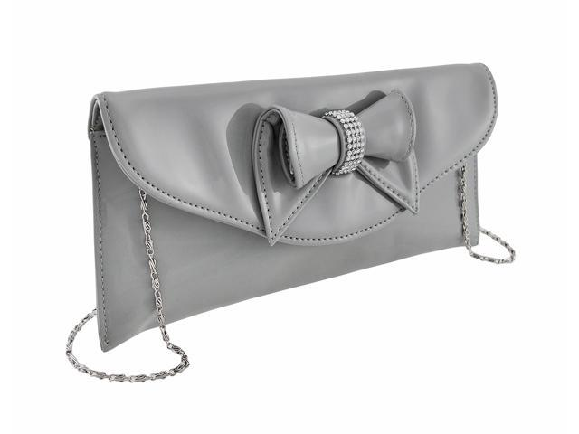 Glossy Clutch Purse with Rhinestone Accented Bow (830648903902 Luggage & Bags) photo
