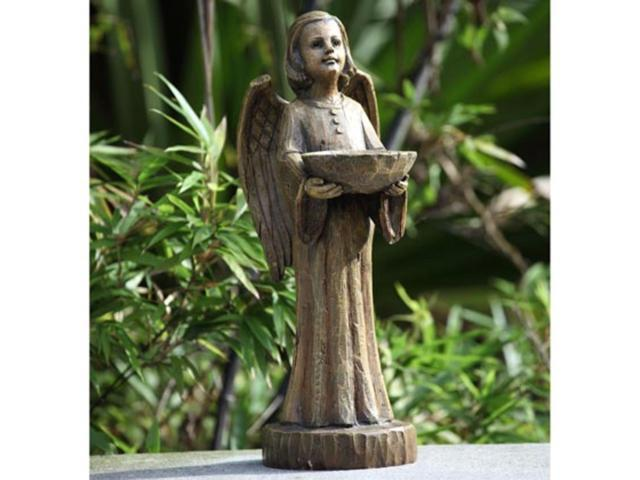 15' Religious Wood Carved Angel Bird Feeder Outdoor Garden Figure (093422229470 Home & Garden Decor Garden Sculptures) photo