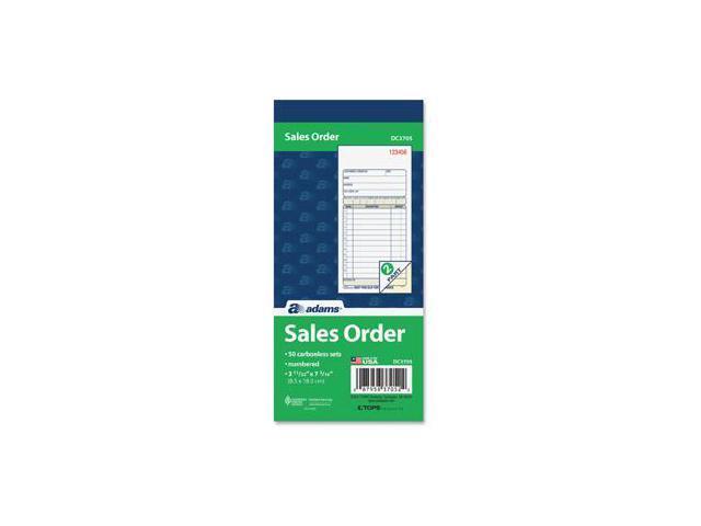 Adams DC3705 Carbonless Sales Order Books 50 Sheet(s) - 2 Part - 7.18' x 3.34' Sheet Size - Assorted - 1 Each photo