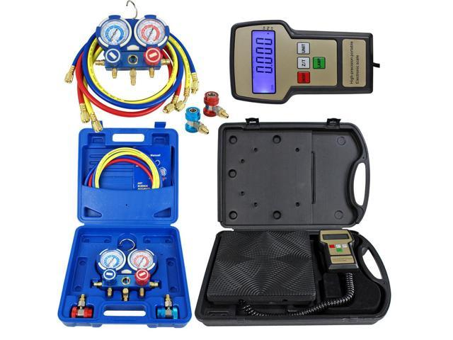 Deluxe Manifold Gauge Set R134a R410a R22 & Electronic Digital Refrigerant Scale photo