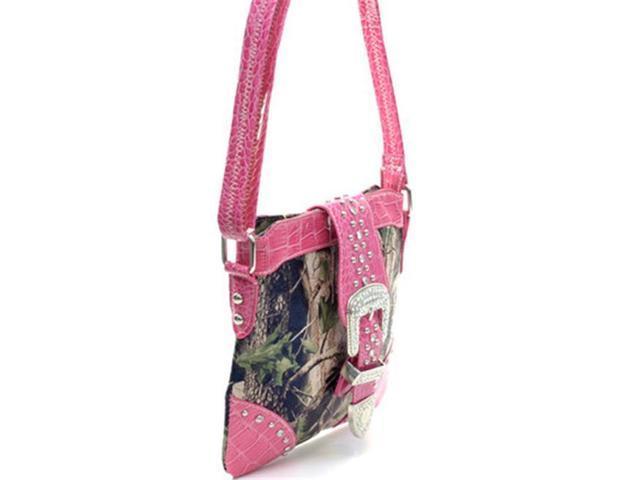 Ritz Enterprises MS103-PK/CAM Western Camouflage Rhinestone Belt Buckle Accent Crossbody Messenger Bag Purse - Pink & Camo (Luggage & Bags) photo