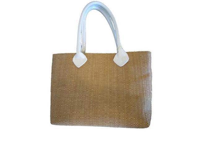 Caught Ya Lookin 205-71-110-CYL Straw and White Patent Leather Purse (Luggage & Bags) photo