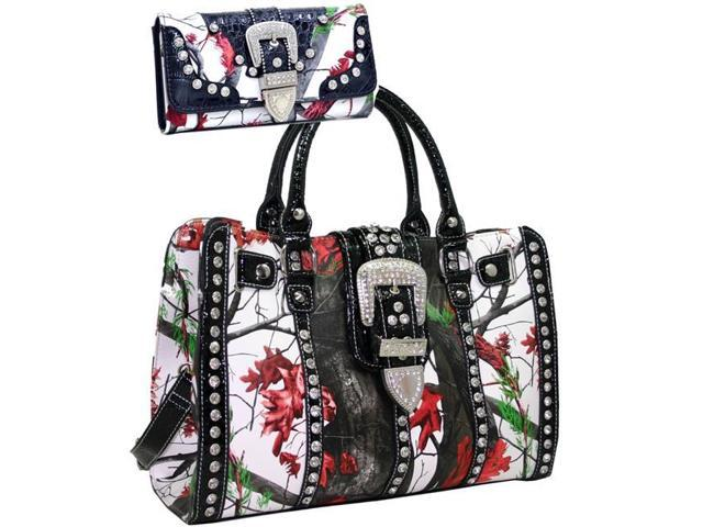Gold Rush BT955SET-Red-Mul Women Studded Cross Western Camo Satchel Bag Purse Wallet - Red (Luggage & Bags) photo