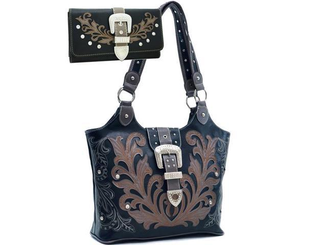 Gold Rush BT951SET-BK Western Embriodered Rhinestone Buckle Accent Purse Wallet - Black (Luggage & Bags) photo