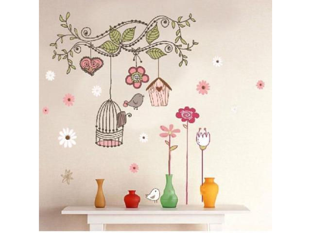 Large Birdcage Vines Flowers Mural Small House Bird Wall Stickers Kids Room Decor Vinyl Decal (Electronics Computers Handheld Devices Pdas) photo