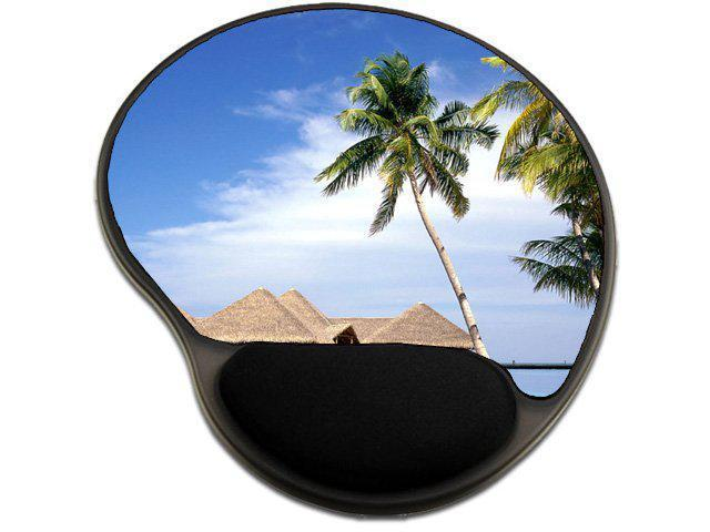 Scenic Beach Ocean Resort Mousepad Base with Wrist Support Mouse Pad Great Gift Idea (Electronics Computer Components) photo
