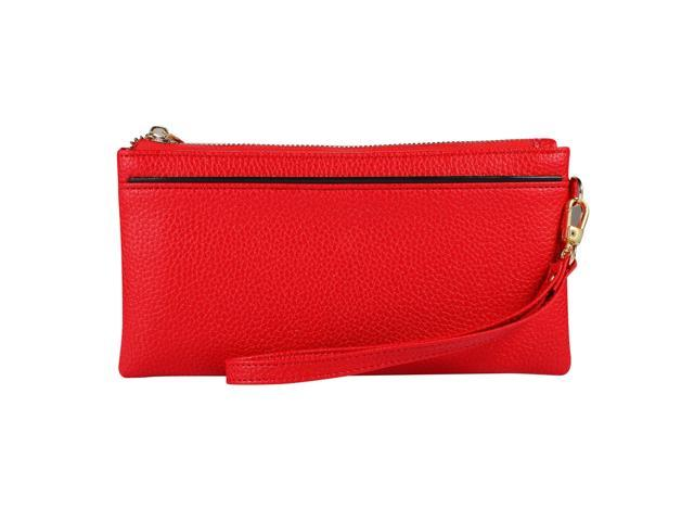 Vintage Phone Purses Women Wallets Female Purse Leather Brand Retro Ladies Long Zipper Woman Wallet Card Clutch (Red) (Luggage & Bags) photo