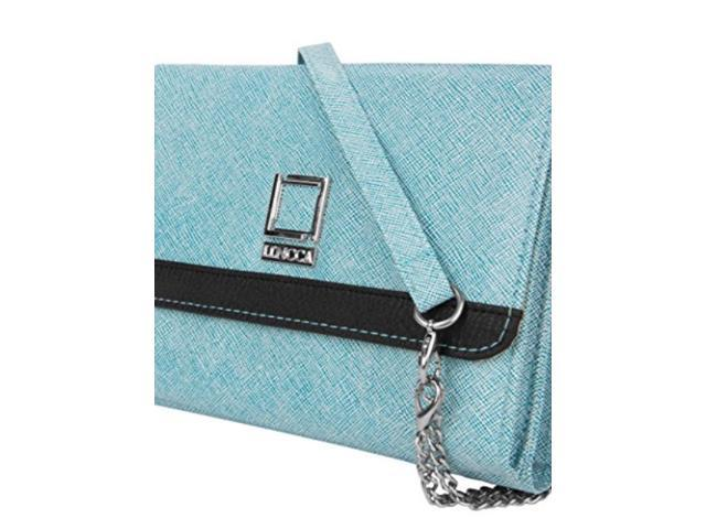Lencca Nikina Vegan Leather crossbody Smartphone clutch Wallet Purse with Removable chain Shoulder Strap - Sky Blue (811076026425 Electronics Computers Handheld Devices Pdas) photo