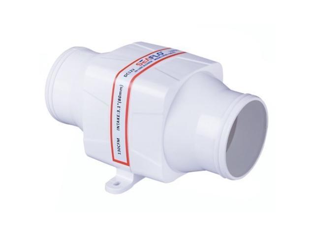 SEAFLO 3' In-Line Marine Bilge Air Blower 12V 130 cFM Quiet Boat White photo
