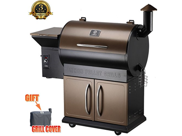 Zgrills ZPG 700D Wood Pellet BBQ Grill U0026 Smoker With Patio Cover,700 Cooking