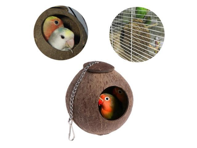 Pet Coconut Shell Bird Parrot Nest House Hut Cage Feeder Toy With Chain Budgie Parakeet Cockatiel Conure Hideaway Husk (Electronics) photo