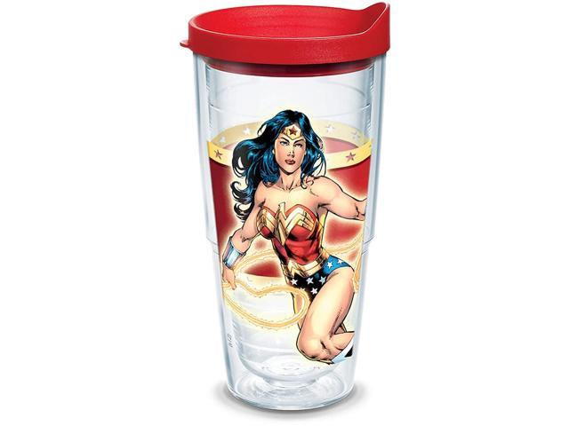 Tervis DC Comics - Wonder Woman Insulated Tumbler with Wrap and Red Lid, 24oz, Clear photo