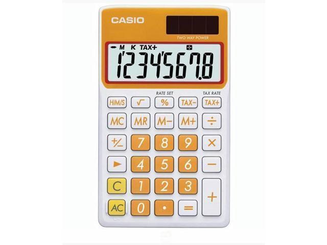 Casio 8 Digit Solar Plus Battery Calculator Auto Off Orange for Pocket or Purse (995476523323 Office Supplies Office Equipment) photo