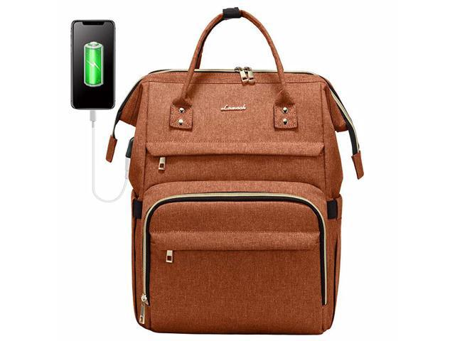 Backpack for Women Fashion Travel Bags Business Computer Purse Work Bag with USB Port Orange (Electronics Computer Components Laptop Parts) photo