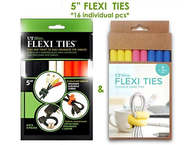 ut wire 5' flexi ties cable wrap - (orange/gray/black/yellow/pink/blue) - 16 count photo