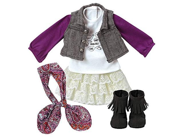 adora amazing girls 18' doll clothes - trendy twill & lace outfit with skirt, tee, vest, scarf, purse, and boots ( exclusive) (010475177114 Toys & Games Toys) photo