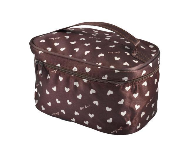 Unique Bargains Lady Heart Pattern Zipper Closure Cosmetic Makeup Bag Purse Coffee Color (608641759792 Luggage & Bags) photo