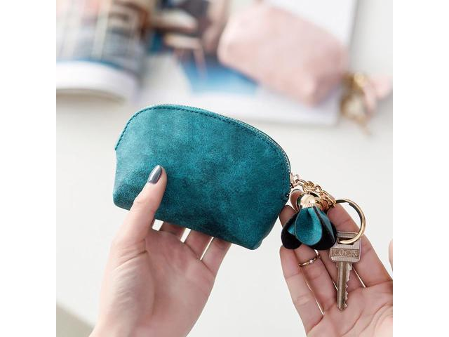 Women PU Leather Coin Purse Flower Pendant Coin Storage Bag Mini Key Bag for Girls Zipper Bag Clutch Handbag (Electronics Computers Handheld Devices Pdas) photo