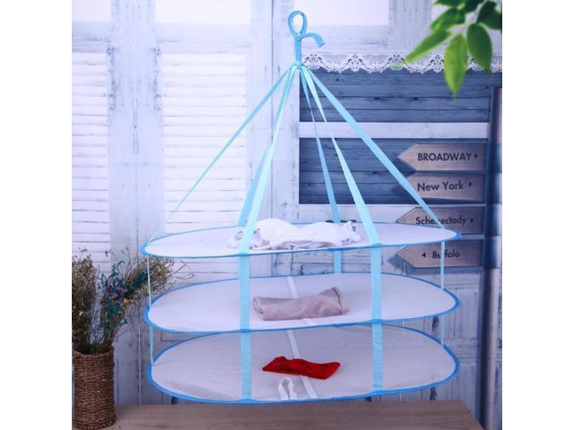 Three-Deck Foldable Drying Basket Mesh Net Clothes Drying Rack Underwear Socks Laundry Basket Dryer Mesh Hanger photo