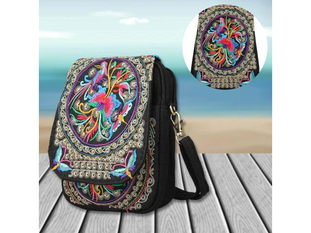 Women Lady Cell Phone Bag Retro Embroider Purse Messenger Crossbody Bags Wallet (Luggage & Bags) photo
