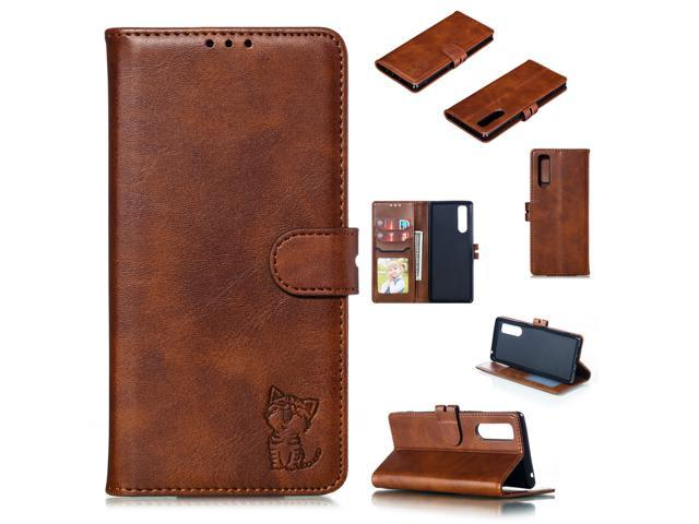 PU Leather Cellphone Cover Mobile Phone Shell Cards Photo Slots Purse for Sony XZ5 brown Sony XZ5 (Electronics Computers Computer Accessories Pda Accessories) photo