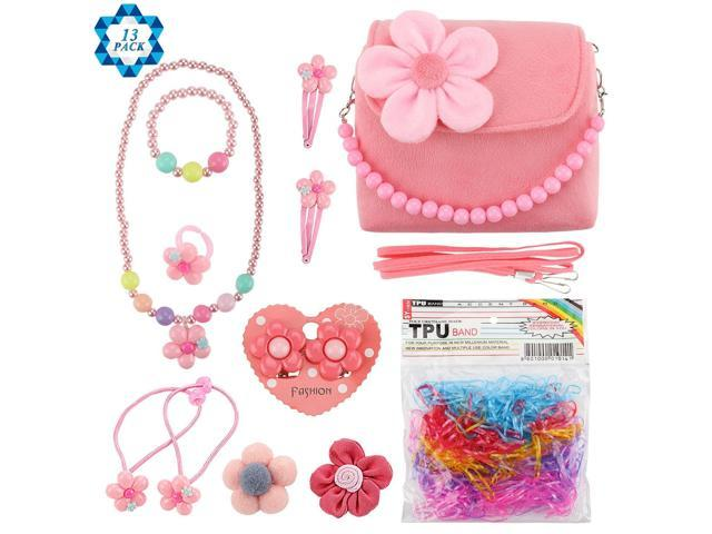 SOTOGO 13 Pieces Plush Purses Flower Handbag with Hair Clip, Necklace, Bracelet, Earrings Ring, Brooch and Rubber Bands for Little Girls and Toddlers (921469939710 Toys & Games Toys Play Vehicles) photo