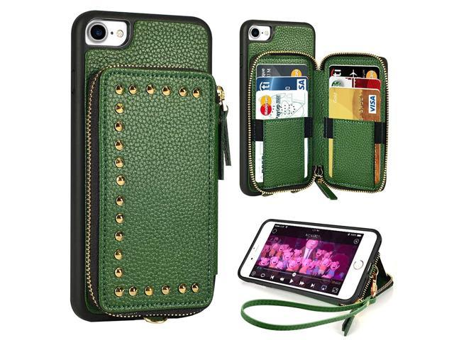ZVE iPhone 8 Wallet Case, Apple iPhone 7 Case with Credit Card Slot Zipper Money Holders Rivet Design Purse Wrist Strap Shockproof Protective Case. (921470005480 Electronics Communications Telephony Mobile Phone Cases) photo