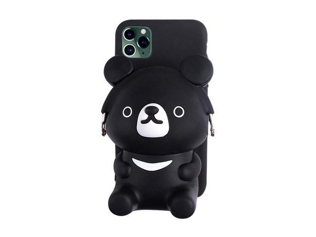 UnnFiko 3D Cartoon Pocket Case Compatible with iPhone 11, Black Cute Bear Purse Stand Holder, Squishy Soft Silicone Protective Phone Case for Girls. (921469974421 Electronics Communications Telephony Mobile Phone Cases) photo