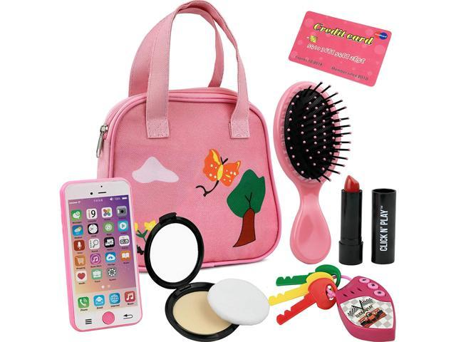 Click N Play 8Piece Girls Pretend Play Purse, Including A Smartphone, Car Keys, Credit Card, Lipstick, Lights Up & Make Real Life Sounds (921469278772 Toys & Games Toys) photo