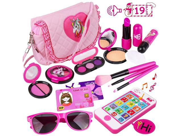 Kids Makeup Kit - Girl Pretend Play Makeup & My First Purse Toy for Toddler Gifts Including Pink Princess Purse, Smartphone, Sunglasses, Credit. (921465211612 Toys & Games Toys) photo