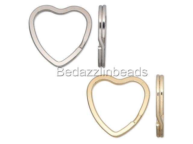 Lot of 10 Big Heart Shaped Steel Split Rings Keyring Ring For Keys Purses + (Gold Plated) (921468601335 Arts & Entertainment Arts & Crafts) photo
