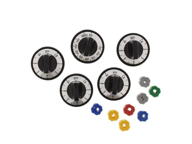 Electric Stove Knobs RKE by Aqua Plumb. 5 pc. Replacement Range Knob Set, 5 pcs. 5x3x4 Inches. (Black) photo