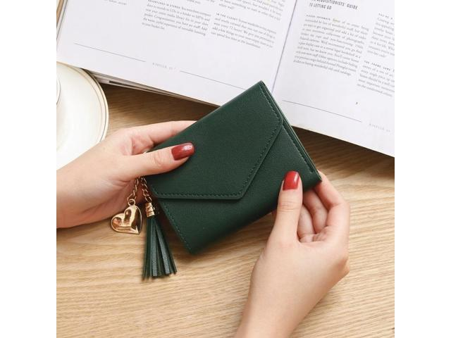 Women Simple Short Wallet Tassel Coin Purse Card Holders Handbag Dark Green (797659621495 Belts & Suspenders) photo