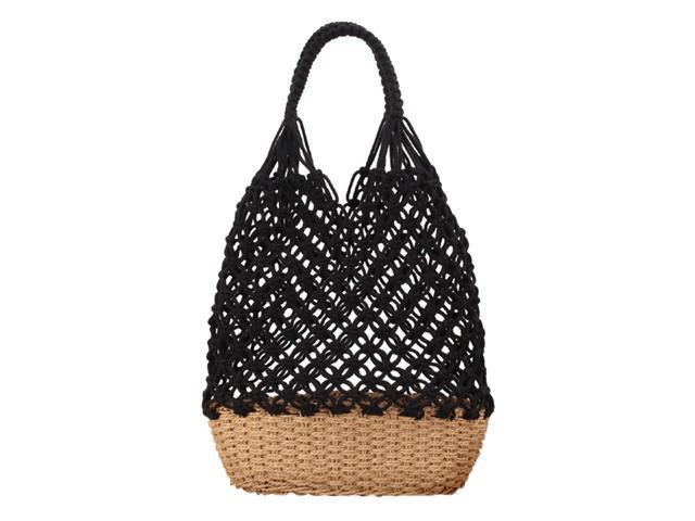 Women Handmade Straw Shoulder Bag Summer Beach Knit Fish Net Purse Black (797659622409 Belts & Suspenders) photo