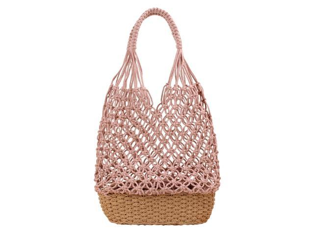 Women Handmade Straw Shoulder Bag Summer Beach Knit Fish Net Purse Pink (766314657094 Belts & Suspenders) photo