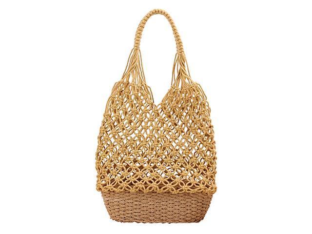 Women Handmade Straw Shoulder Bag Summer Beach Knit Fish Net Purse Yellow (766314675760 Belts & Suspenders) photo