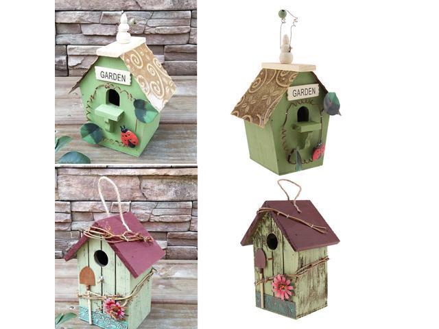 2x Wooden Bird Houses Outdoor Garden Birds Hanging Nesting Box Arts Crafts (808729968812 Home & Garden Lawn & Garden Outdoor Living) photo