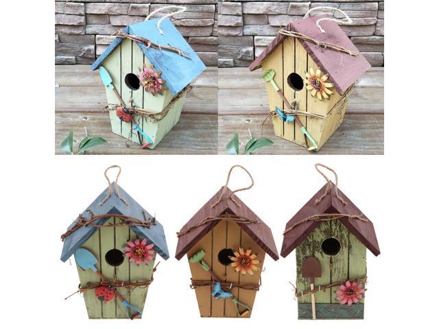 3x Country Cottages Wood Bird House Hanging Birdhouse Condo Garden Decor (703666008686 Home & Garden Lawn & Garden Outdoor Living) photo