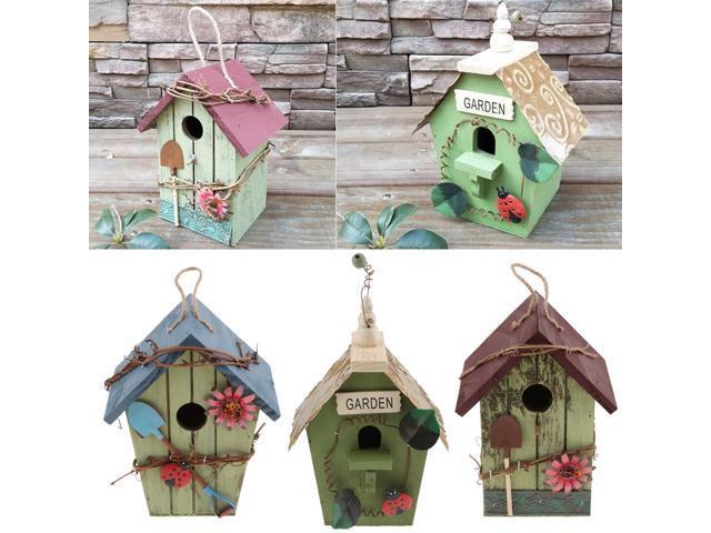 3 Pieces Country Cottages Wood Bird House Box Hanging Nest Bird Feeder (703655282882 Home & Garden Lawn & Garden Outdoor Living) photo