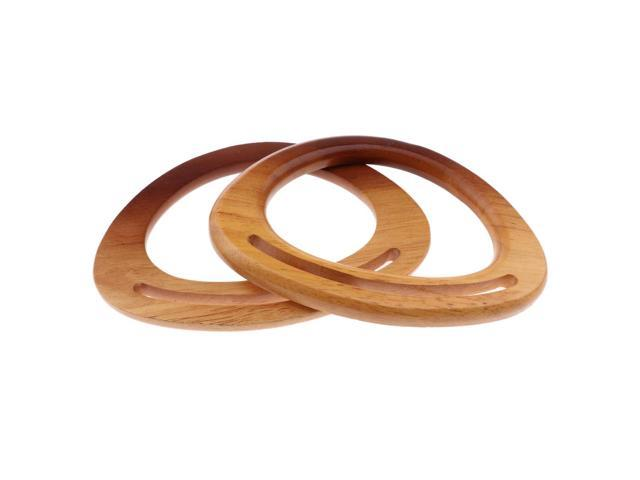 2Pack Wooden Oval Shaped Handles Replacement for Handmade Bag Purse Handles (703565838070 Belts & Suspenders) photo