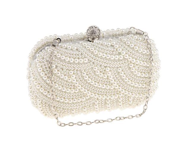 Woman Evening Handbag Artificial Pearls Clutch Purse Shoulder Chain Bag (703655602789 Belts & Suspenders) photo