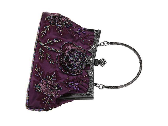 Woman Embroidery Evening Handbag Clutch Purse Shoulder Chain Bag purple (760339662194 Belts & Suspenders) photo