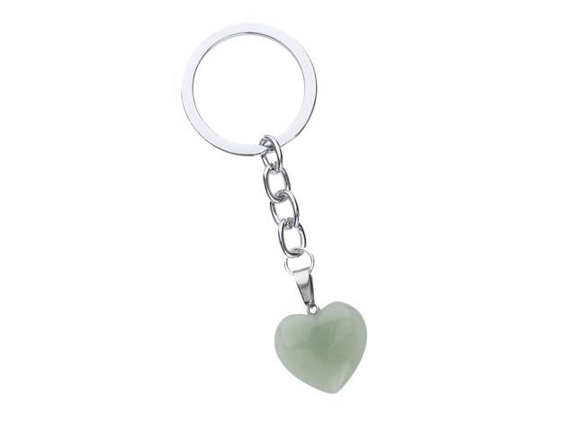 Heart Shape Natural Stone Charm Pendant Purse Bag Key Ring Chain Gift Green (753128937917 Belts & Suspenders) photo