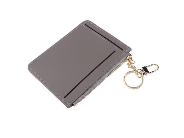 Womens Slim Leather Card Holder Front Pocket Wallet Change Purse keychain Gray (703757691957 Belts & Suspenders) photo