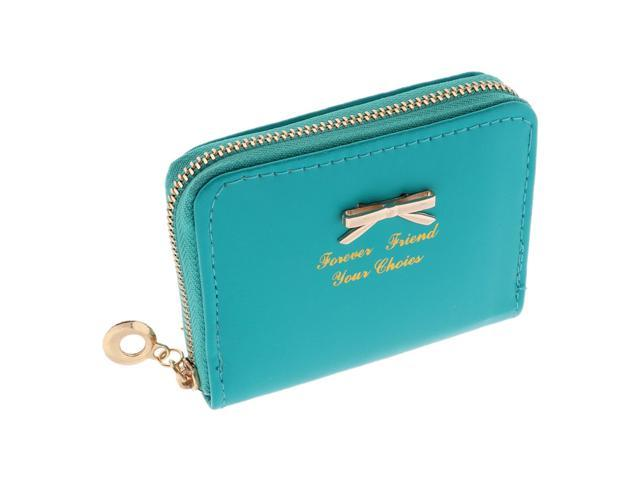 Girl Women PU Leather Wallet Purse Card Holder Coin Money Zipper Bag Green (752183216630 Belts & Suspenders) photo