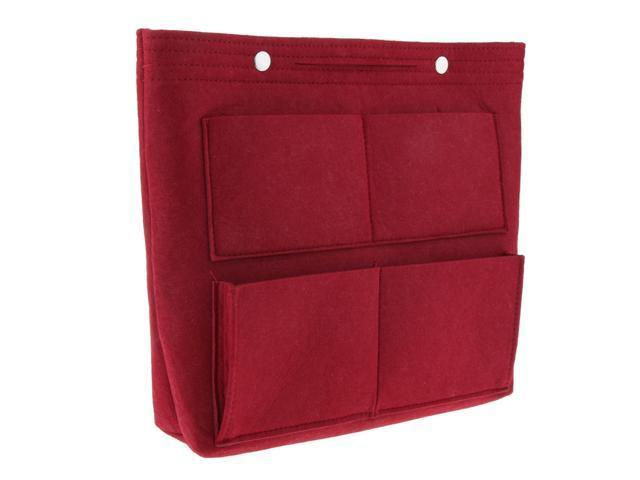Large Felt Handbag Tote Purse Organizer Insert Liner Multi-Pocket Wine Red (753128535861 Belts & Suspenders) photo