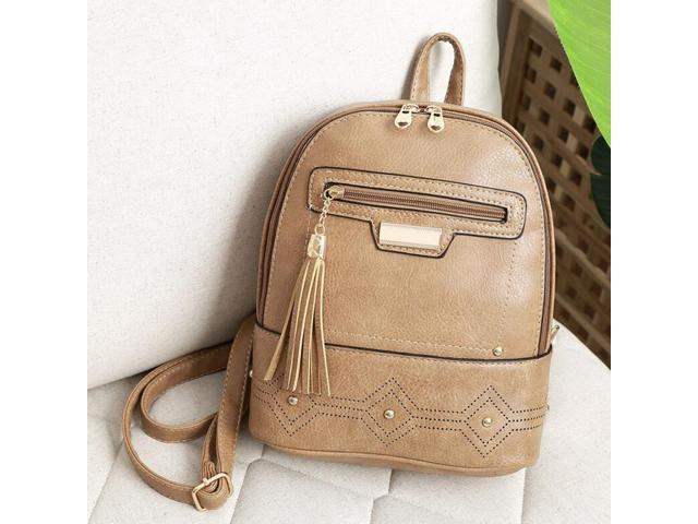 PU Leather Backpack Purse Casual Shoulder Bag Lightweight School Bags Apricot (656852254391 Belts & Suspenders) photo